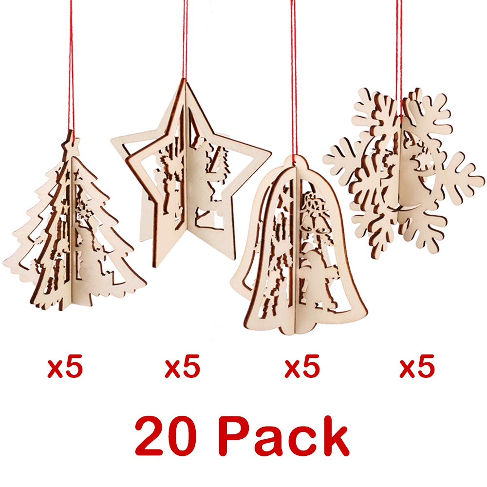 Partybus 3d Wooden Christmas Ornaments 20 Pack Unfinished Wood Cutouts For Holiday Card Decoration Xmas Gift Tags For Kids Art Craft Diy String