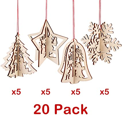 PartyBus 3D Wooden Christmas Ornaments 20 Pack, Unfinished Wood Cutouts for  Holiday Card Decoration, - Amazon.com: PartyBus 3D Wooden Christmas Ornaments 20 Pack