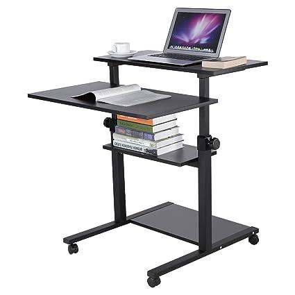 Computer Workstation Desk,Mobile Stand Up Desk Height Adjustable Height  Computer Work Station Rolling Presentation