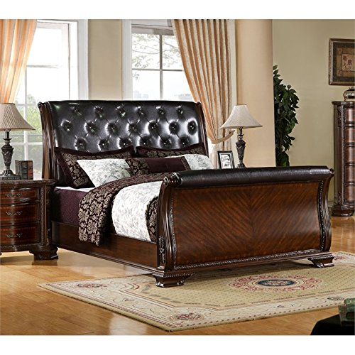 BOWERY HILL King Tufted Leather Sleigh Bed in Brown Cherry by BOWERY HILL