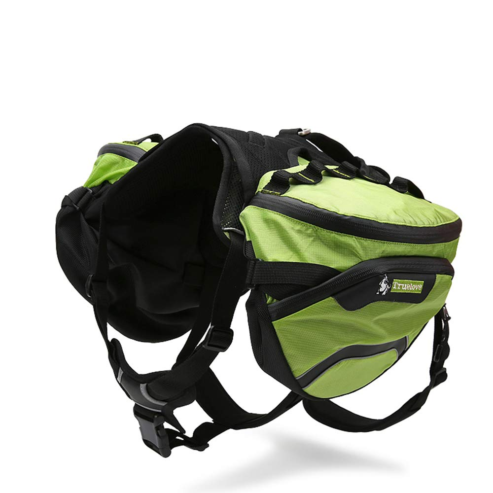Clumsypets Dog Hound Backpack 2 in 1 Saddblebag&Vest Harness with Waterproof for Backpacking,Hiking,Travel,Suit for Small,Medium,Large Dogs (Green, L)