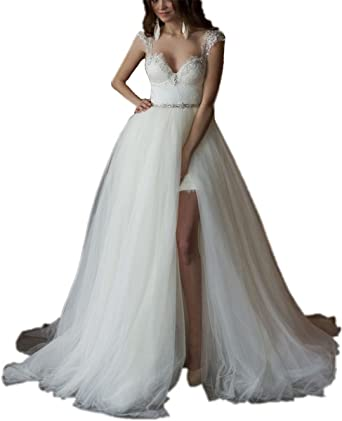 Tsbridal Detachable Train Wedding Dress Lace Wedding Dresses At Amazon Women S Clothing Store