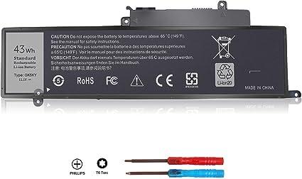 ZTHY New 43Wh GK5KY Battery for Dell Inspiron 11 3147 3148 3152 3157 Inspiron 13 7347 7348 7352 7353 7359 Inspiron 15 7558 P55F001 7568 P20T Laptop 04K8YH 4K8YH RHN1C 92NCT 451-BBKK 11.1V 3Cell