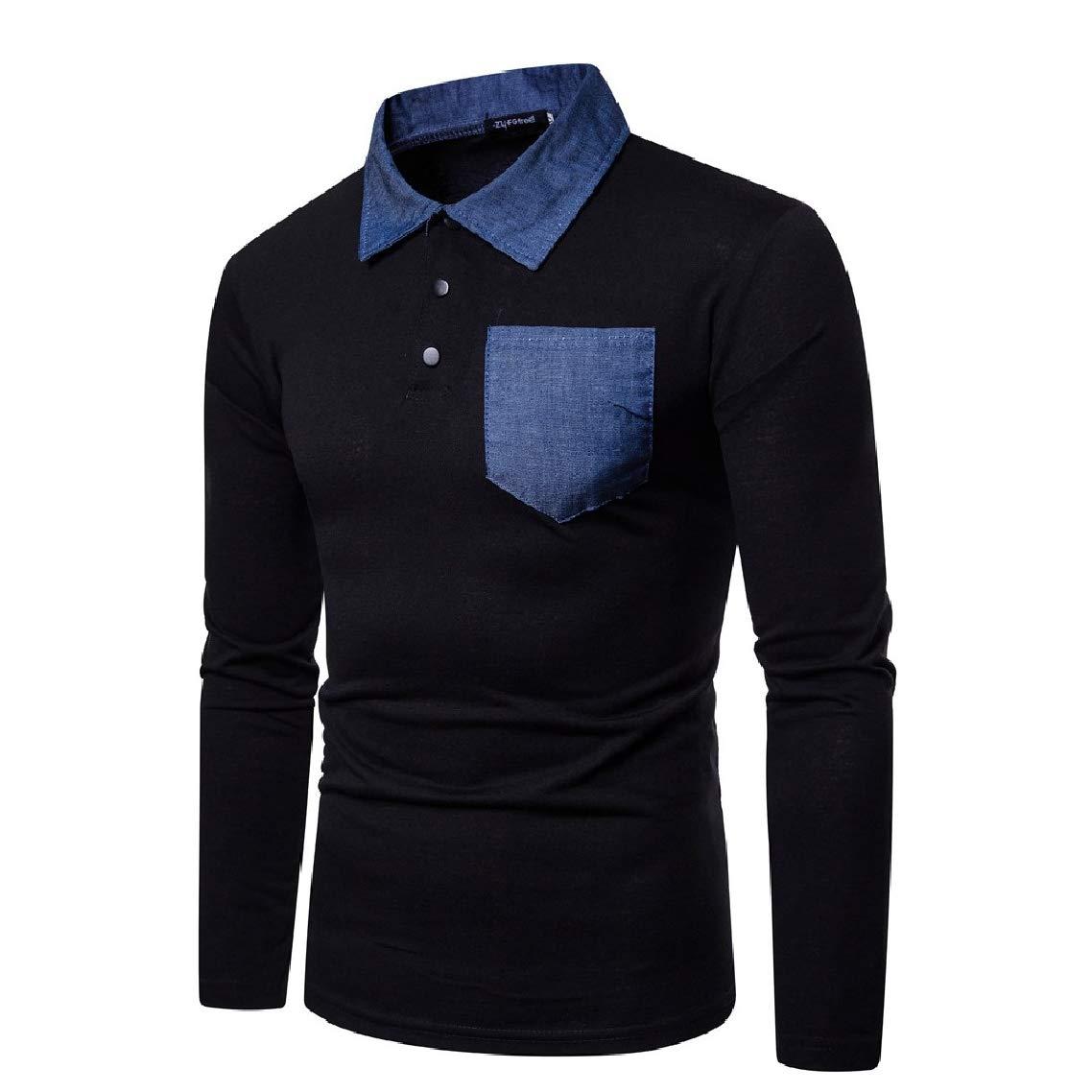Highisa Men Spring//Autumn Long-Sleeve Turn Down Collar Polo Shirt Causal T-Shirt
