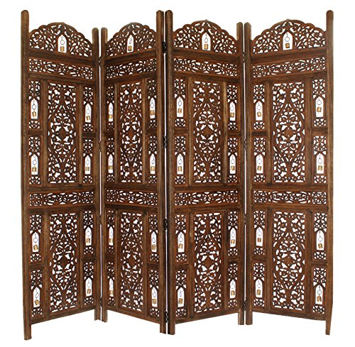 Cotton Craft Ghanti Bells - Antique Brown 4 Panel Handcrafted Wood Room Divider Screen 72x80 - With Tiny Bells - Intricately Carved On Both Sides