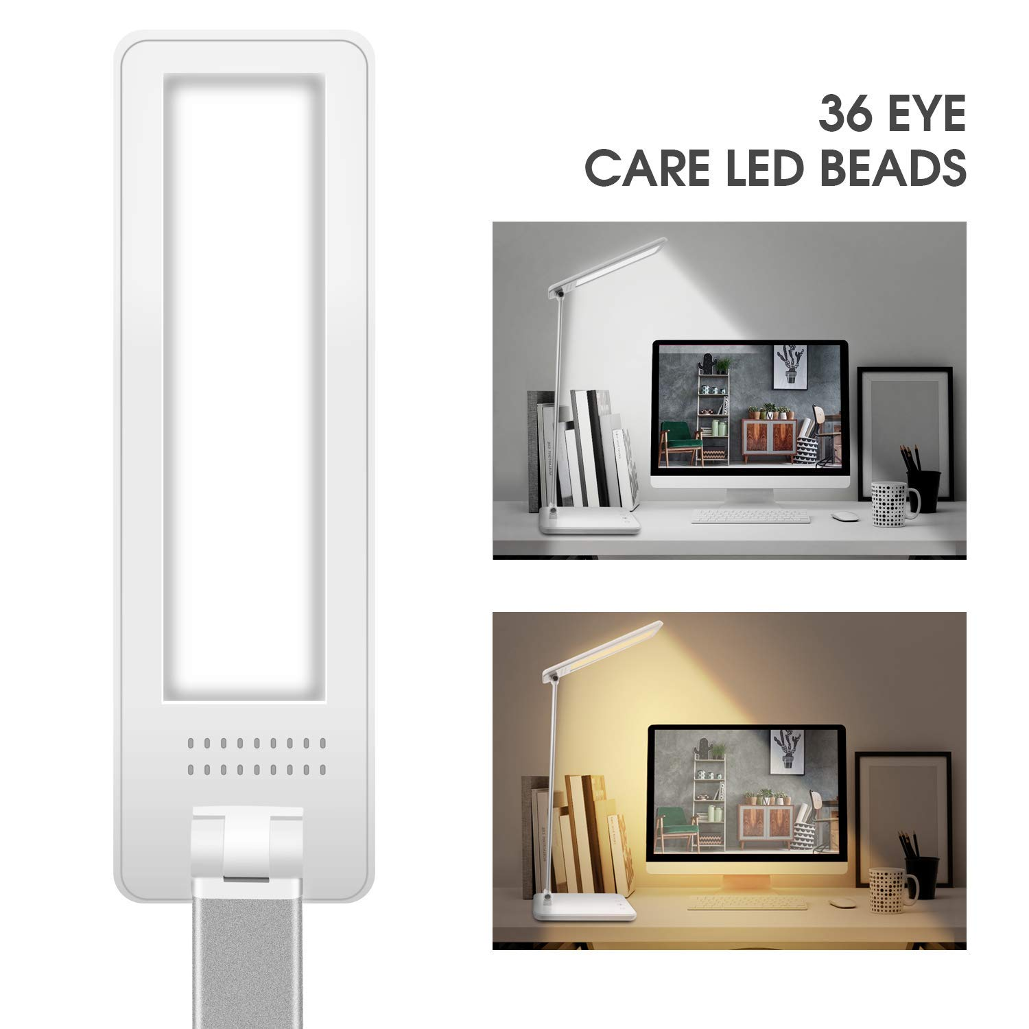 Desk Lamp, Stepless Dimming LED Desk Lamp, Table Lamp with 2.1A Faster Charging Function, 1Hour Auto Timer and Double Memory Function for Office, Reading Room and Bedroom