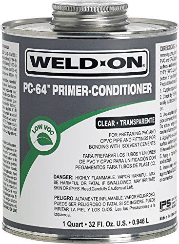 Pvc Primer (Weldon 12656 Pc-64 Clear Pvc/Cpvc Primer-Conditioner Low-Voc, 1 quart, Clear)