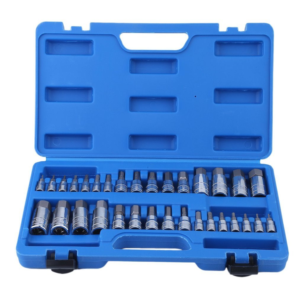Premium Master Hex Bit Socket Set 5/64-inch to 3/4-inch 2mm to 19mm - Blackpoolfa 32 Piece Allen Wrench Bit Kit Hex Key for Ratchet Socket Tool SAE Metric Set