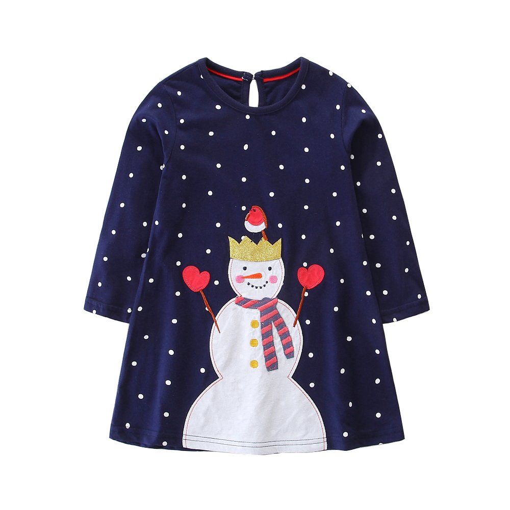 FreeLu Girls' Cotton Casual Longsleeve Party Dresses Special Occasion Cartoon Print Dress