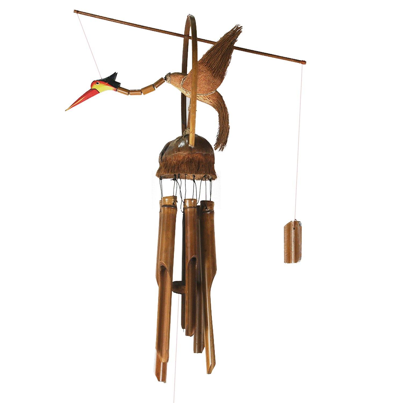 ART-CRAFT WSVO002 Windspiel Mobile Klangspiel Outdoor Indoor Paradies Vogel aus Kokos und Bambus