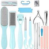 Pedicure Kit, Foot Care Kit Professional 20 PCS Stainless Steel Foot Rasp Peel Scrubber Callus Shaver Scraper Tool…