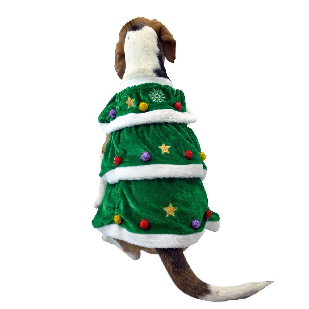 Árbol de navidad Ropa para perros Mascotas Abrigo de invierno Capas dobles Capa suave y cálido Muy lindo Cosplay Traje Regalo de Navidad Verde S