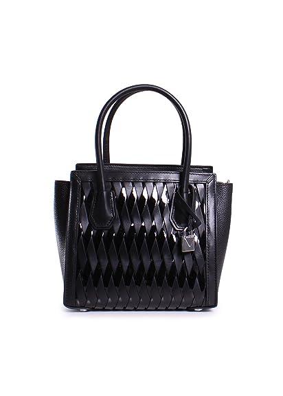 f7a1c50cf263 Michael Michael Kors Mercer Studio Patent Leather Medium Woven Messenger  Handbag in Black: Amazon.co.uk: Shoes & Bags