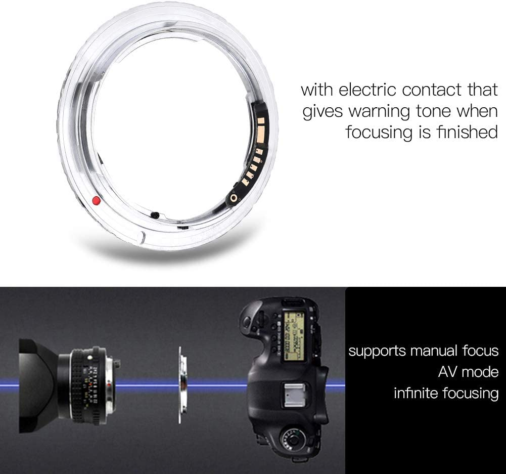 Vbestlife PK-EOS Lens Accessory Camera Lens Adapter Ring with Electric Contact for Pentax K Lens for Canon EOS Cameras.