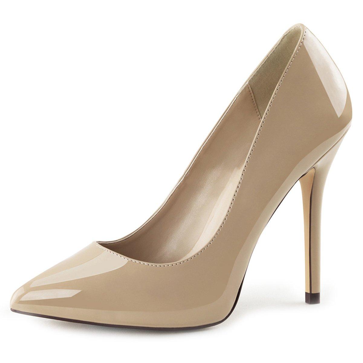 de9f58979 Amazon.com | Womens 5 Inch Heels Classic Pointed Toe Pumps Shiny Cream Shoes  Hidden Platform | Pumps