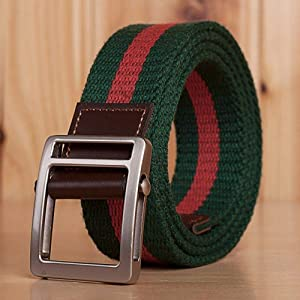 LOF-fei Hebilla Lisa Lona Ocasional Moda Paño Trenzada cinturón táctico Transpirable,Verde Rojo 120CM