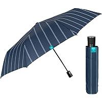 Paraguas Plegable Hombre Elegante de Raya Diplomática - Sombrilla Lluvia Resistente Antiviento con Apertura Automática…