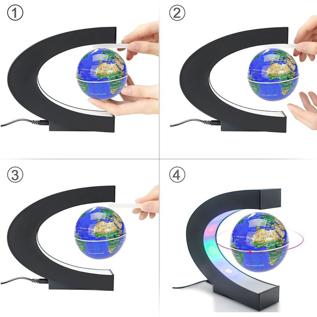 Magnetic Levitation Floating World Map Globe C Shape Base Black+Silver Home Office Desk Decoration 3 Rotating Planet Earth Globe Ball Anti Gravity with LED Light Lamp- Educational Gifts for Kids