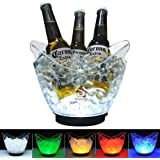 TECKCOOL LED Ice Buckets, Clear Acrylic 3 Liter Ice Bucket Colors Changing LED Cooler Bucket, Champagne Wine Drinks Beer Bott