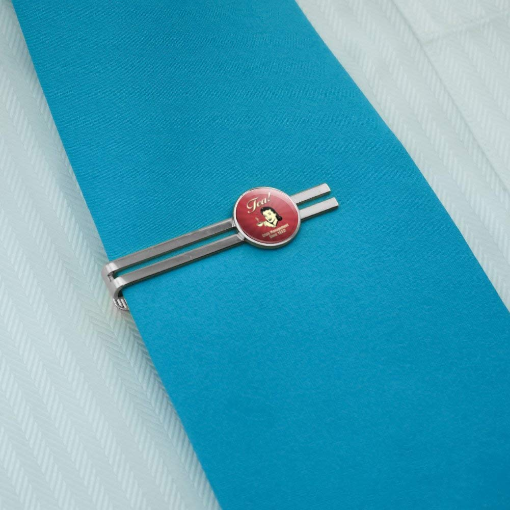 GRAPHICS /& MORE Tea Crisis Management Since 1652 Funny Humor Retro Round Tie Bar Clip Clasp Tack Silver Color Plated