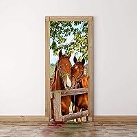 FCFLXJ 3D Paard Photo Deur Muren Behang Verwijderbare Zelfklevende Muren voor Slaapkamer Huis Deur Woonkamer Kantoormuur…