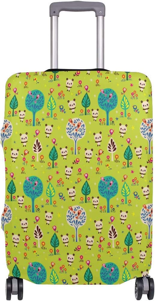Fashion Travel Panda Bears In Forest Green Luggage Suitcase Protector Washable Baggage Covers