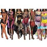 Womens Sexy Summer Sleeveless Burn Out See Through Irregular Bandage Club Mini Dress (XL, black)