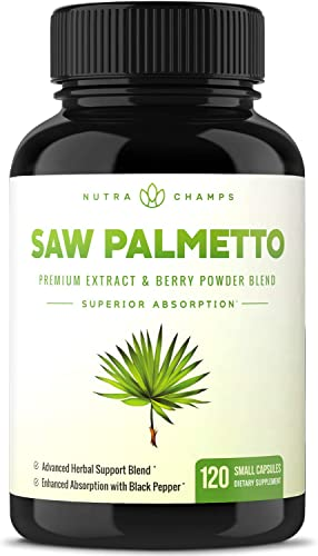 Saw Palmetto Supplement for Prostate Health Extra Strength 600mg Complex with Extract, Berry Powder Herbs – Supports Healthy Urination Frequency, DHT Blocker Hair Loss Prevention – 120 Capsules