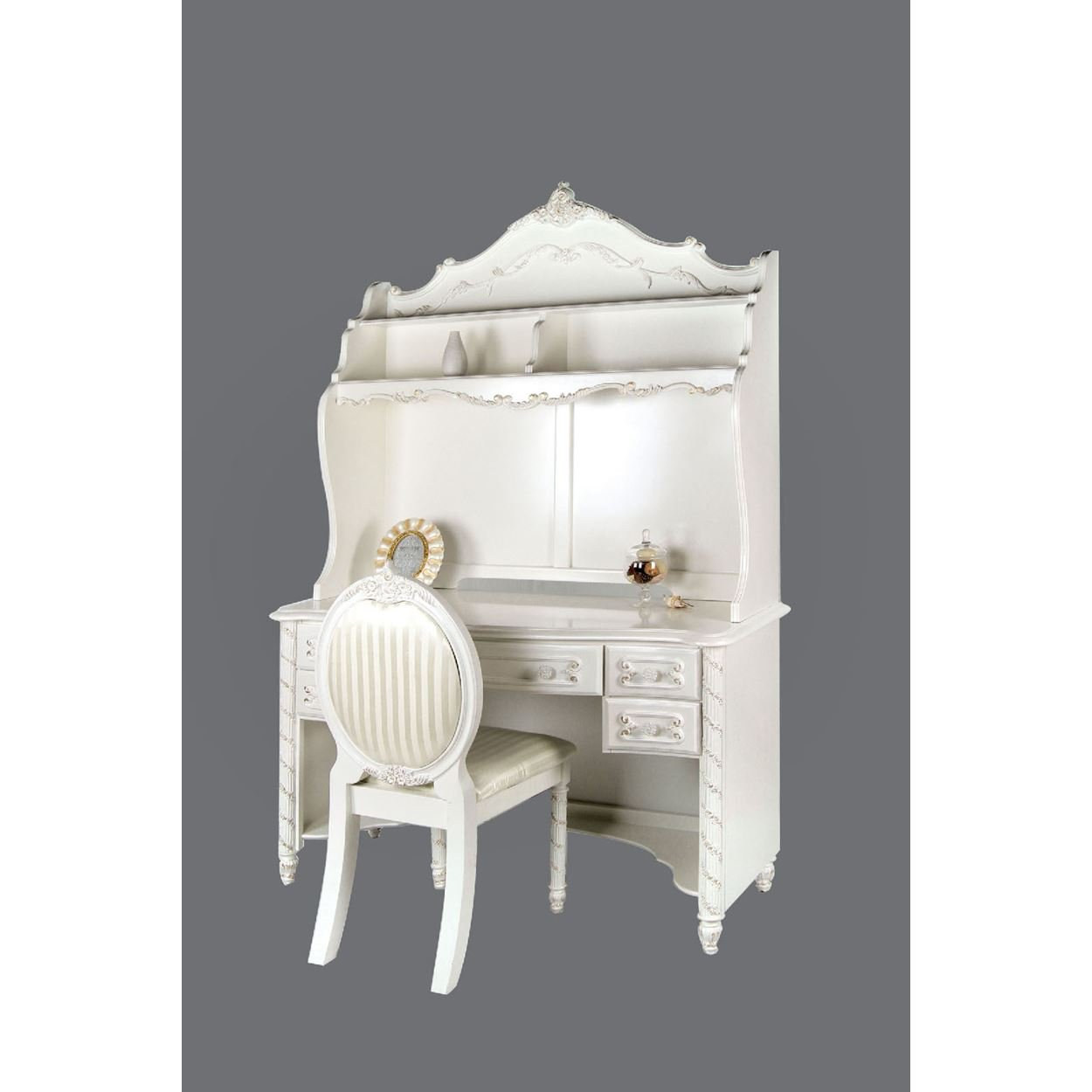 Addison Girls 3 Piece Desk, Hutch & Chair Set in Pearl White
