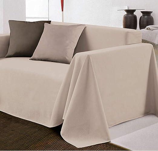 Biancheria Store Funda de sofá de Tela Decorativa de Color Liso en 2 tamaños - Fabricado en Italia Gran Foulard Multiusos para Cubrir sofás - 160 x ...