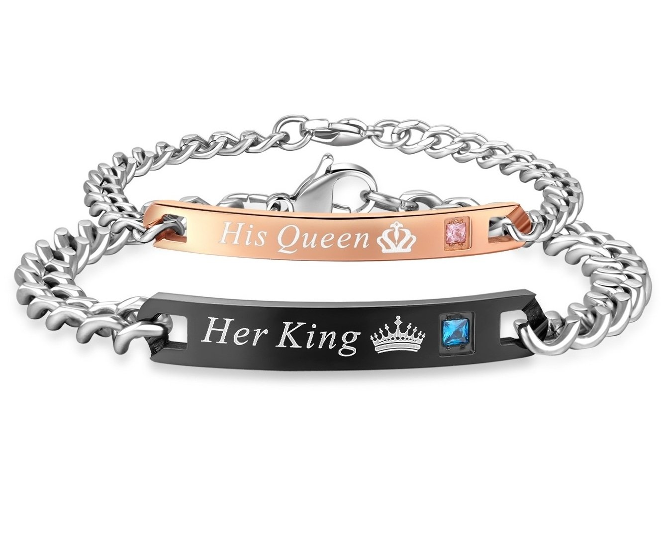 SunnyHouse Jewelry His & Hers Matching Set Titanium Stainless Steel His Queen Her King Couple Bracelet in a Gift Box (A PAIR)