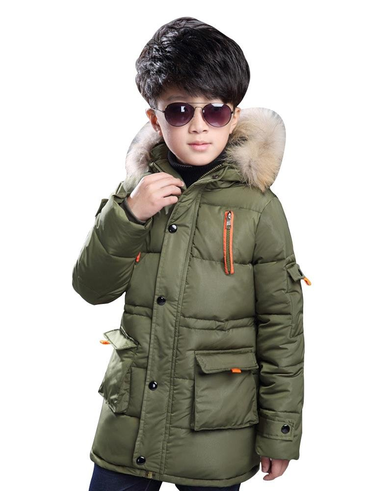Boy's Winter Hooded Cotton Coat Jacket Parka Outwear Army Green Tag 160CM
