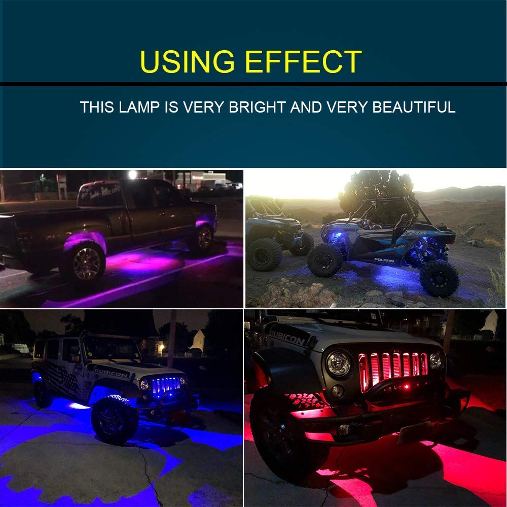Timing 4 Pods Flashing Music Mode for Jeep Off Road Trucks Atv Boat 4XBEAM RGB LED Rock Lights Multicolor Neon LED Light Kit w//Bluetooth Controller