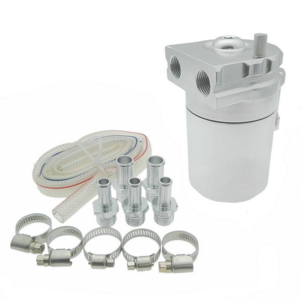 Heinmo Aluminum Alloy Universal Cylinder Car Oil Catch Can Reservoir Tank with Breather Kit Silver