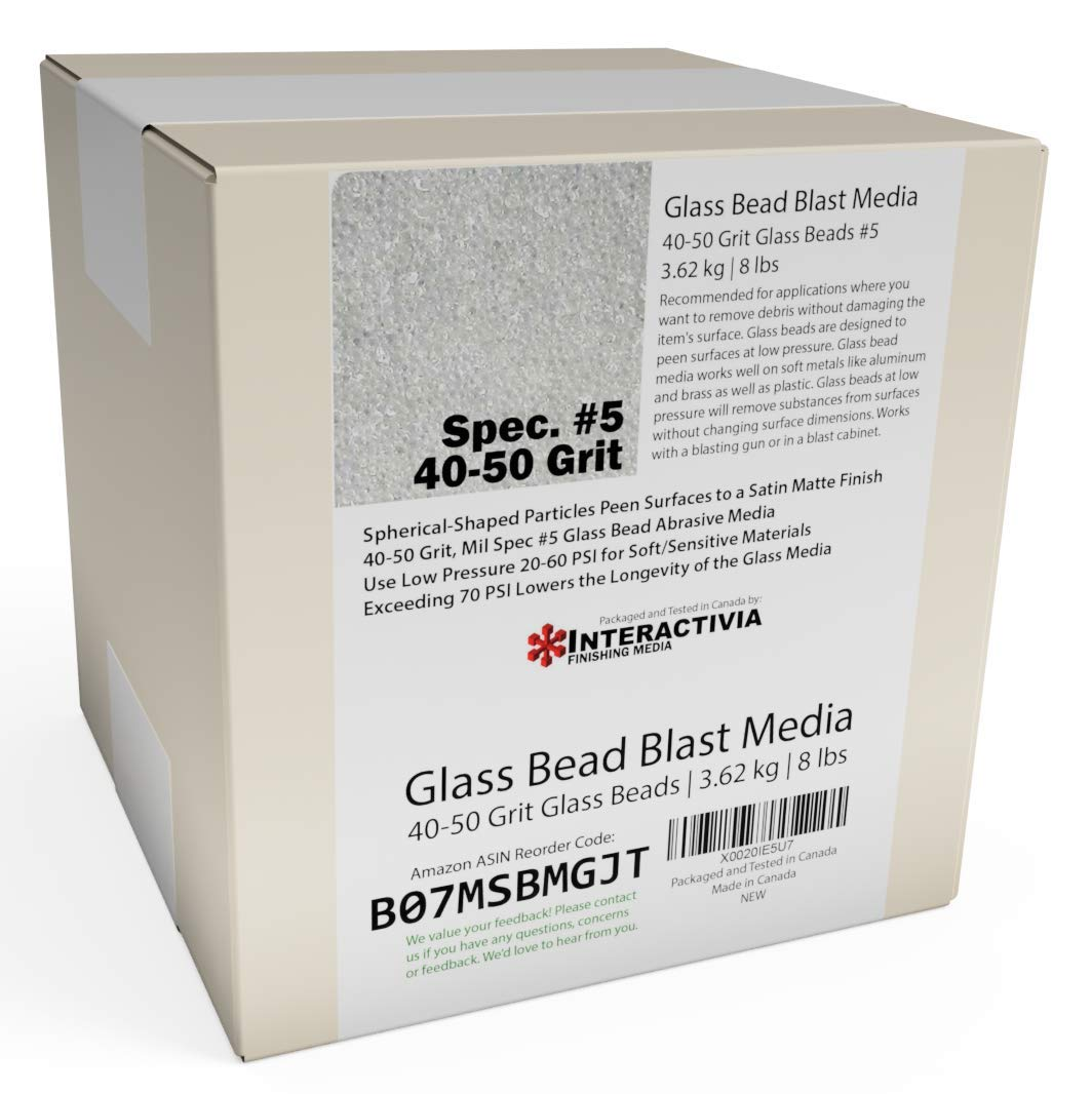 #5 Glass Beads - 8 lb or 3.6 kg - Blasting Abrasive Media (Coarse to Medium) 40-50 Mesh or Grit - Spec No 5 for Blast Cabinets Or Sand Blasting Guns - Large Beads for Peening and Finishing 61mEOq9TUsL