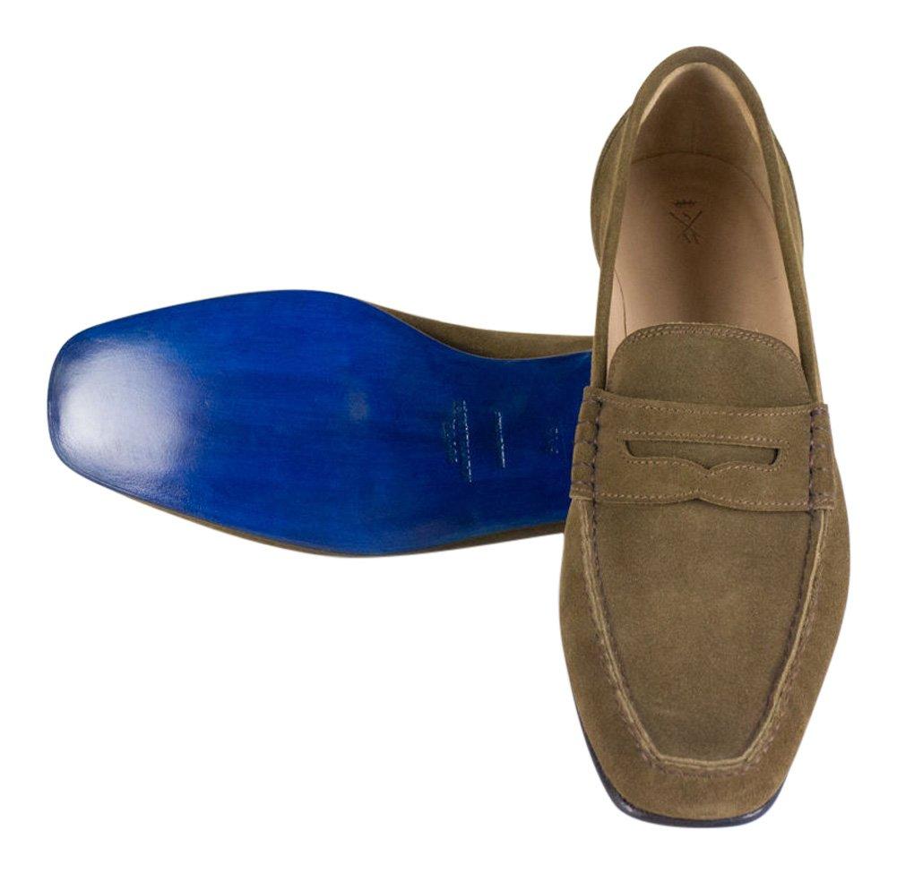 Sutor MANTELLASSIブラウンスエードレザーペニーローファー靴サイズ10.5 u.s。   B01N2HVNH8