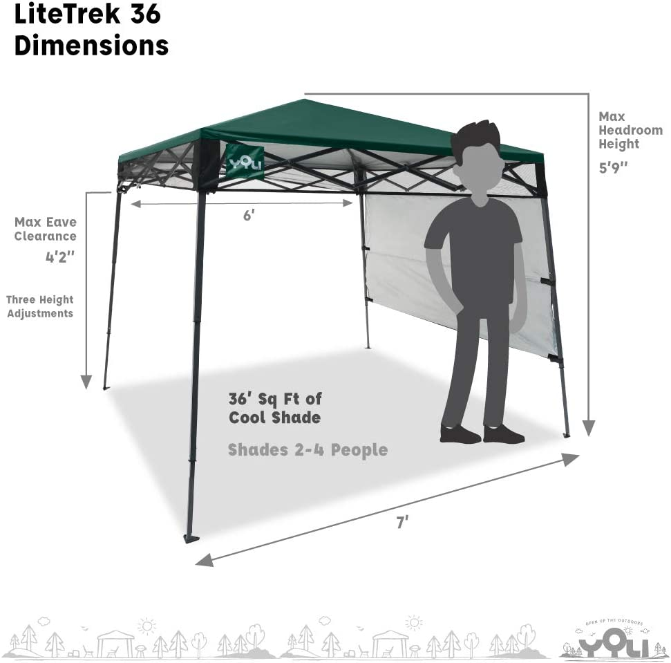 Yoli LiteTrek 36 7 x 7 Angled Leg Instant Canopy with Forest Green Top and Cool Gray Frame