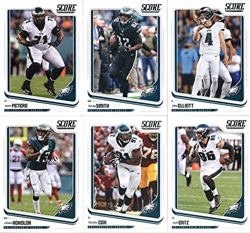 2018 Score Philadelphia Eagles Veteran Team Set of 11 Cards: Carson Wentz(#258), Ronald Darby(#259), Jay Ajayi(#260), LeGarrette Blount(#261), Alshon Jeffery(#262), Nelson Agholor(#263), Fletcher Cox(#264), Zach Ertz(#265), Jason Peters(#266), Torrey Smith(#267), Jake Elliott(#268)