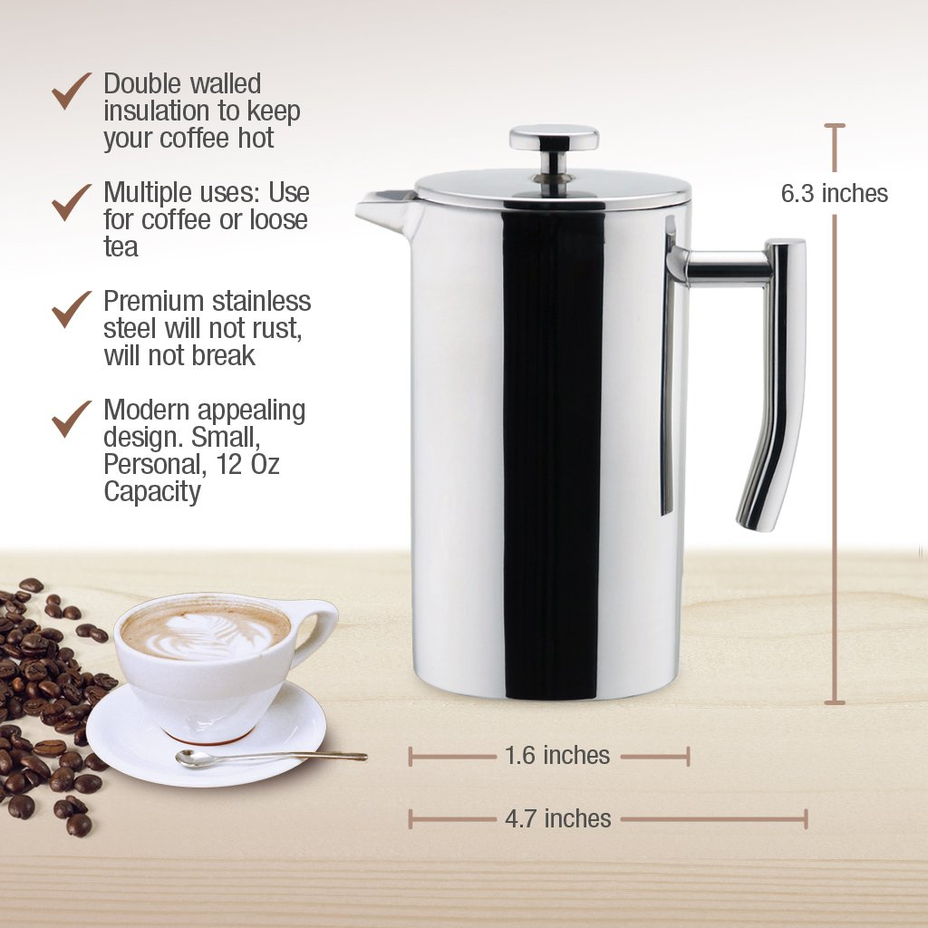 MIRA Stainless Steel French Press Coffee Maker Mira Brands CDP-301-Cascade 350 ml Keeps Brewed Coffee or Tea Hot Double Walled Insulated Coffee /& Tea Brewer Pot /& Maker 12 Oz