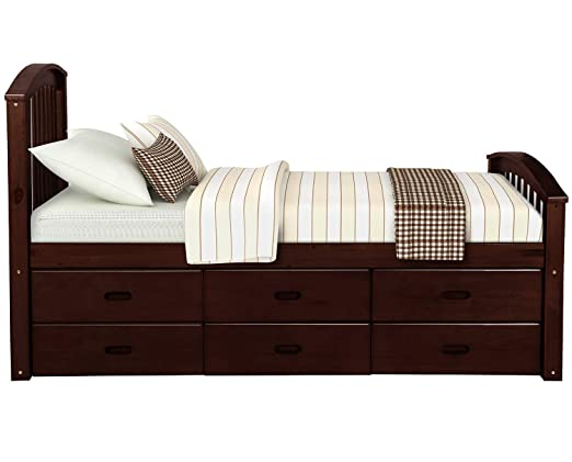Wood Platform Bed With 6 Drawers Wood Slat Support No Box Spring Needed Twin Size