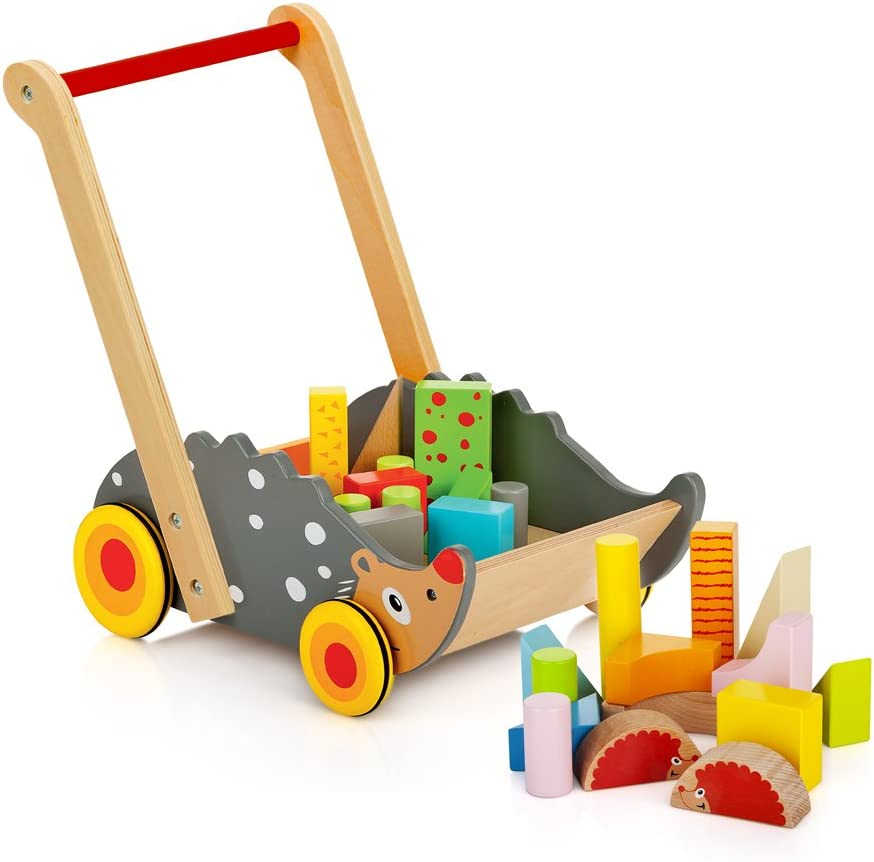 Leomark Trotador empujador Hedgehog, Juguete para Desarrollo de Habilidades motoras Juguete para apilar para bebés, Carrito para Aprender a Caminar