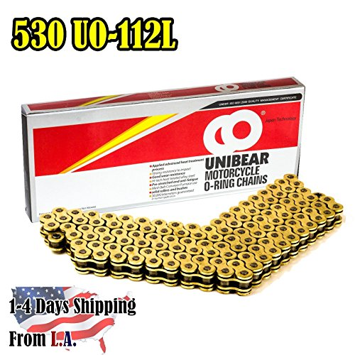 Unibear O-Ring 530 112 Links Motorcycle Chain, with 1 Connecting Link, Gold, Japan Technology