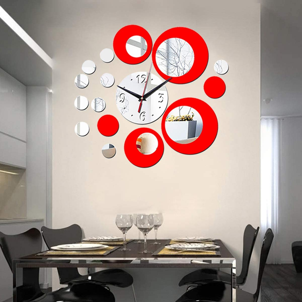 HOODDEAL Acrylic Clock Mirrors Style Removable Decal Vinyl Art Wall Sticker Home Decor (Silver Red)