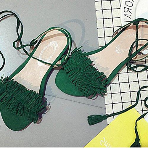 Sandalias De Mujer, Oficina De La Manera Mujeres De Bajos TalóN Sandalias Ocasionales Con Cordones Verde