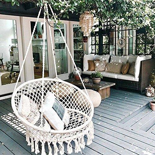 CCTRO Hammock Chair Macrame Swing,Boho Style Rattan Chair Hanging Macrame Hammock Swing Chairs for Indoor/Outdoor Home Patio Porch Yard Garden Deck,265 Pound Capacity (C Beige)