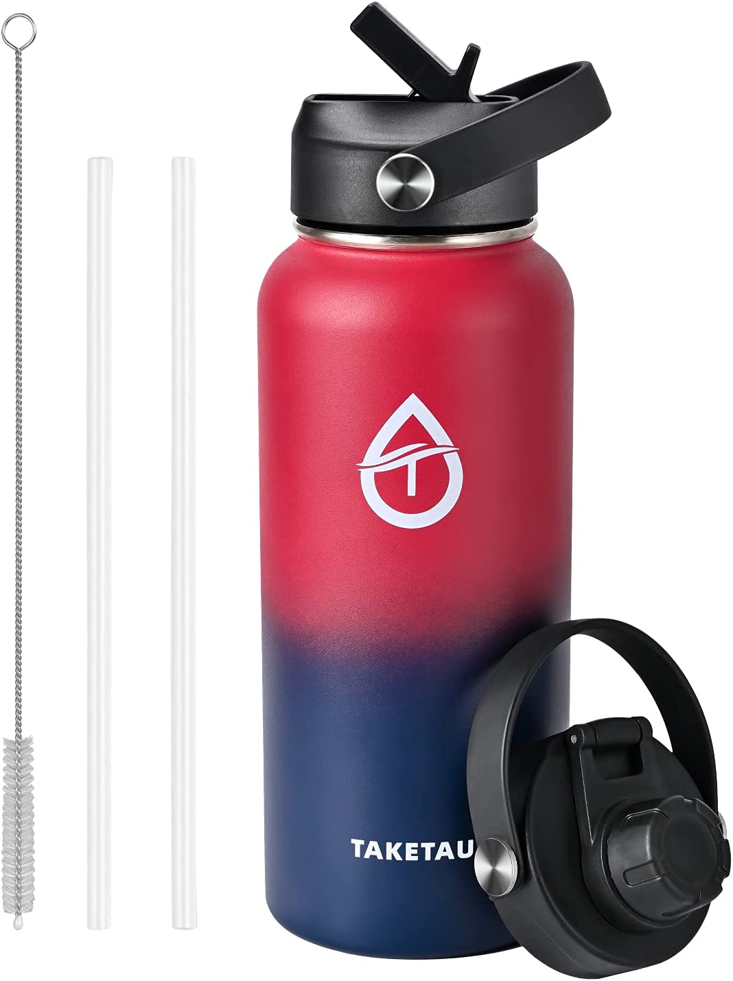 TAKETAU Stainless Steel Insulated Sports Water Bottle with Straw Cap & Spout Lid, 32 oz Double Wall Vacuum Wide Mouth Leakproof Water Bottle, Keep Drinks Cold or Hot (Wine Red/Violet, 32 Oz)