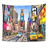 TOMPOP Tapestry New York City Dec 01 Times Is Busy Tourist Intersection of Neon and Commerce Iconic Street America Home Decor Wall Hanging for Living Room Bedroom Dorm 50x60 Inches