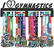 GENOVESE Gymnastics Medal Holder Display Hanger Rack Frame,Black Sturdy Steel Metal,Wall Mount Over 70 Medals,