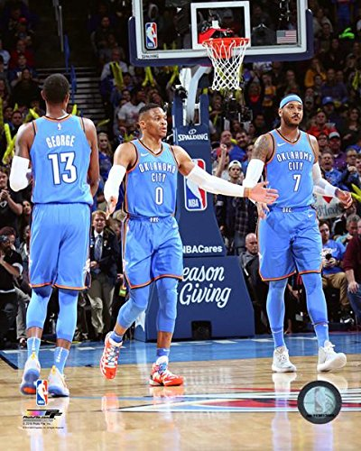 Paul George, Russell Westbrook, & Carmelo Anthony 2017 NBA Photo (Size: 8