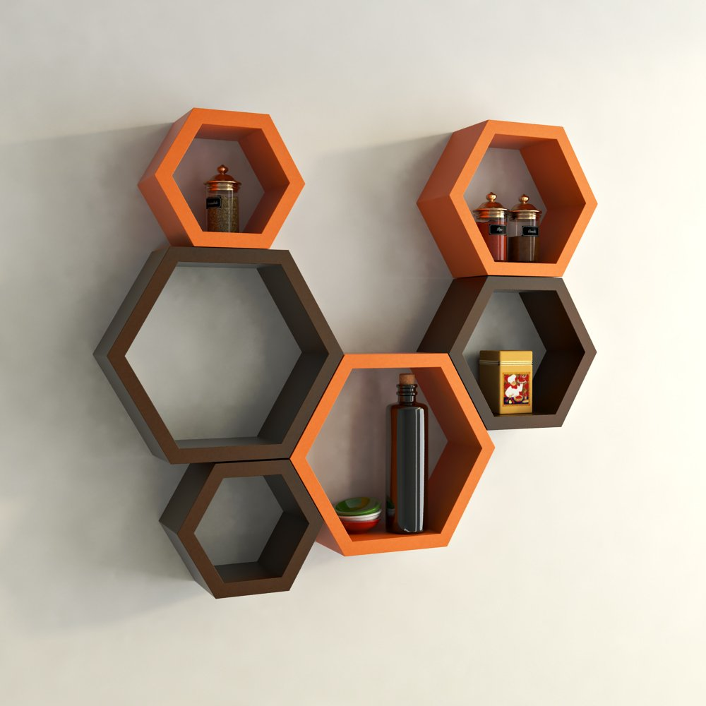 Decornation hexagon wall shelf set of 6 orange and brown decornation hexagon wall shelf set of 6 orange and brown amazon home kitchen amipublicfo Gallery